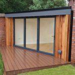 Triangular garden room, bi-folding doors,