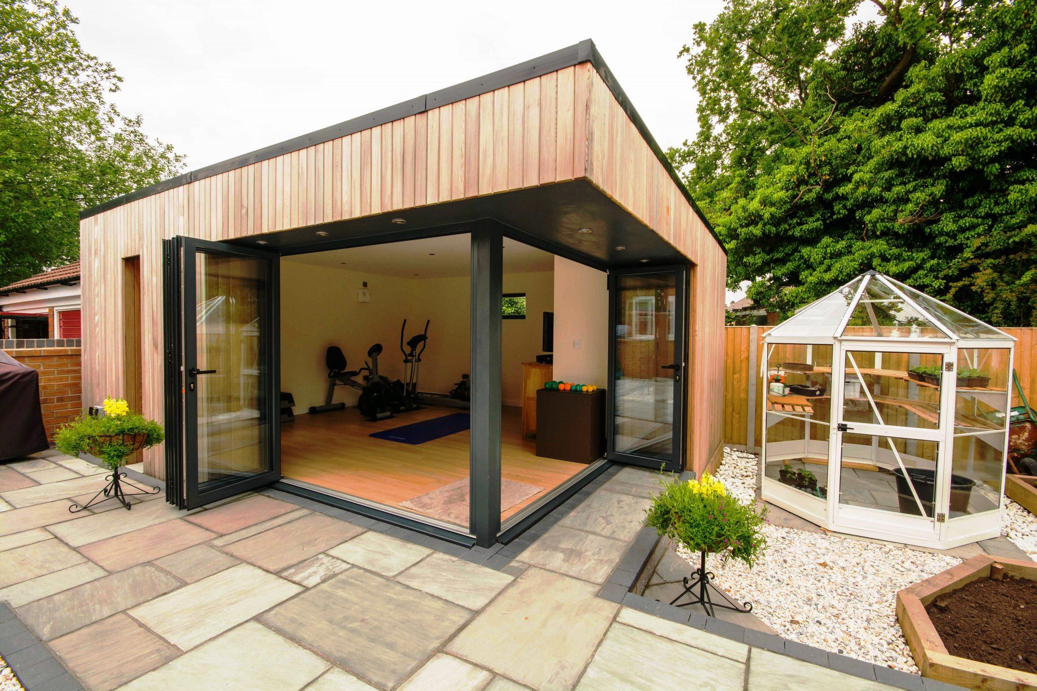 luxury garden gym with en suite swift garden rooms. Black Bedroom Furniture Sets. Home Design Ideas