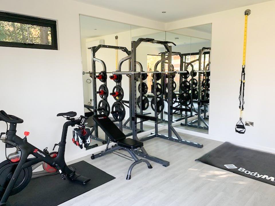Garden gym interior with equipment