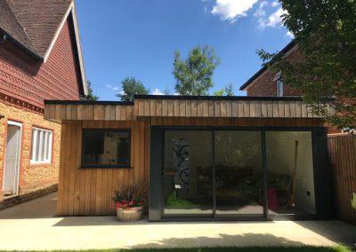 garden annexe with cedar cladding