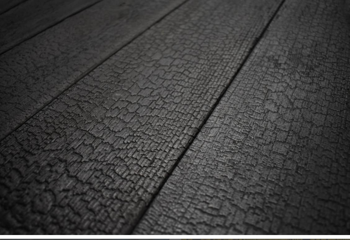 Charred wood cladding