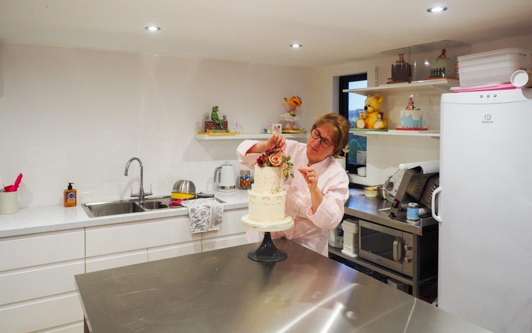Baking studio interior with baker