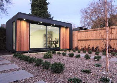 Landscaped garden with garden office