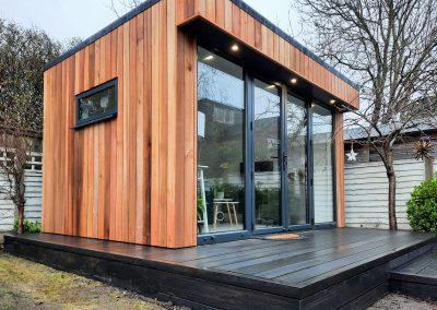 Cheshire garden office with decking step