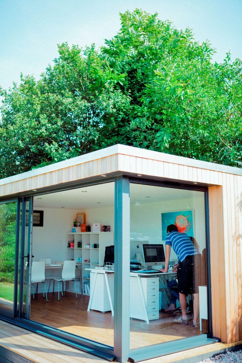 Bespoke garden office with doors open
