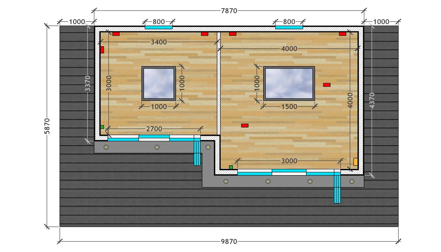 Floorplan of bespoke multipurpose garden room