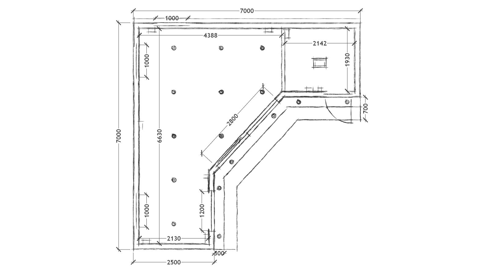 L-shaped garden room sketch