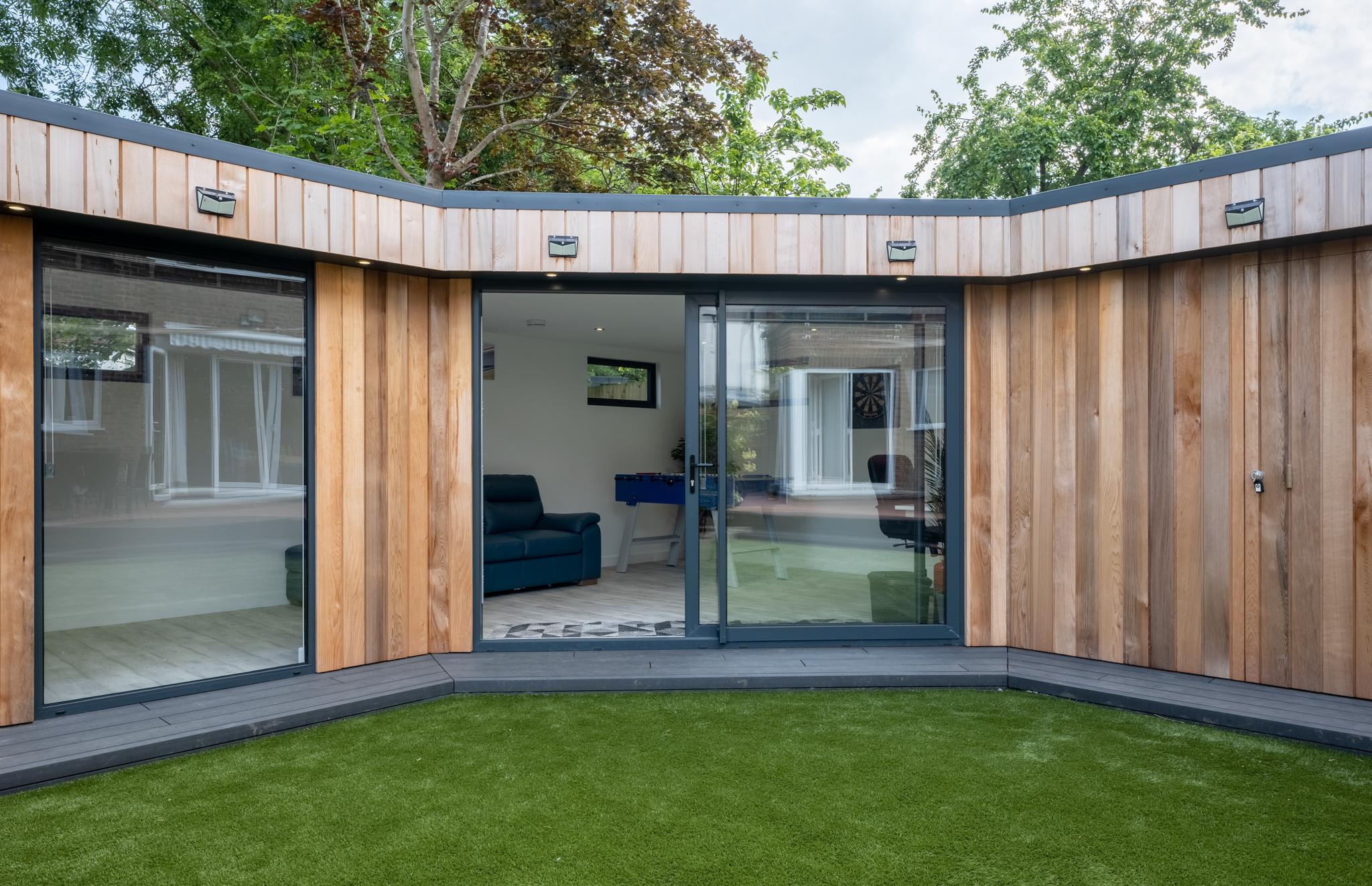 L-shaped garden room exterior