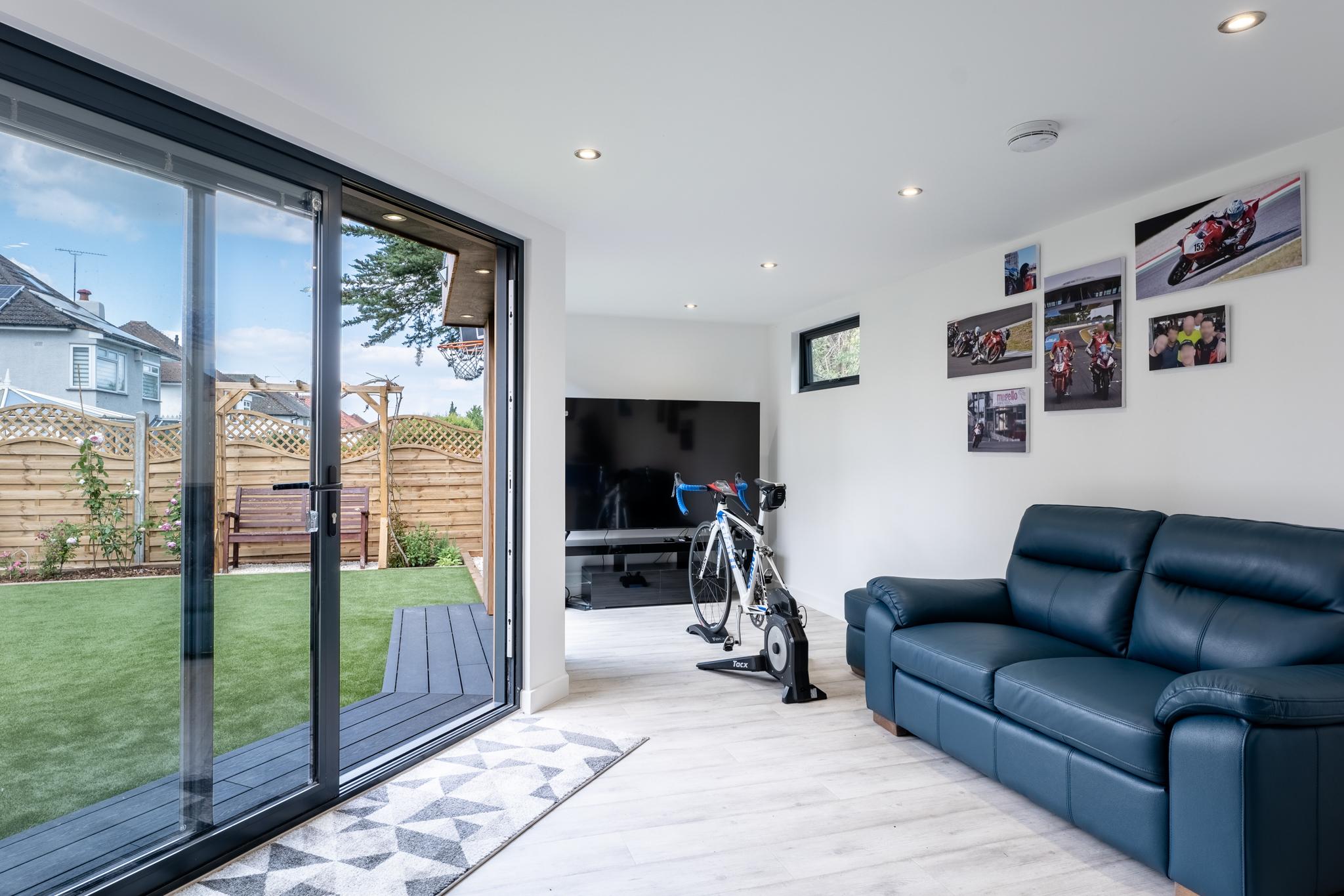 L-shaped garden room interior